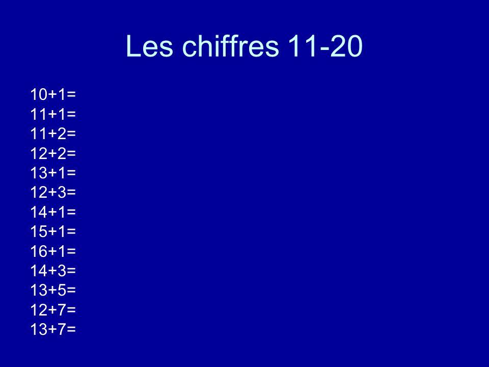 Les chiffres 11-20 10+1= 11+1= 11+2= 12+2= 13+1= 12+3= 14+1= 15+1= 16+1= 14+3= 13+5= 12+7= 13+7=