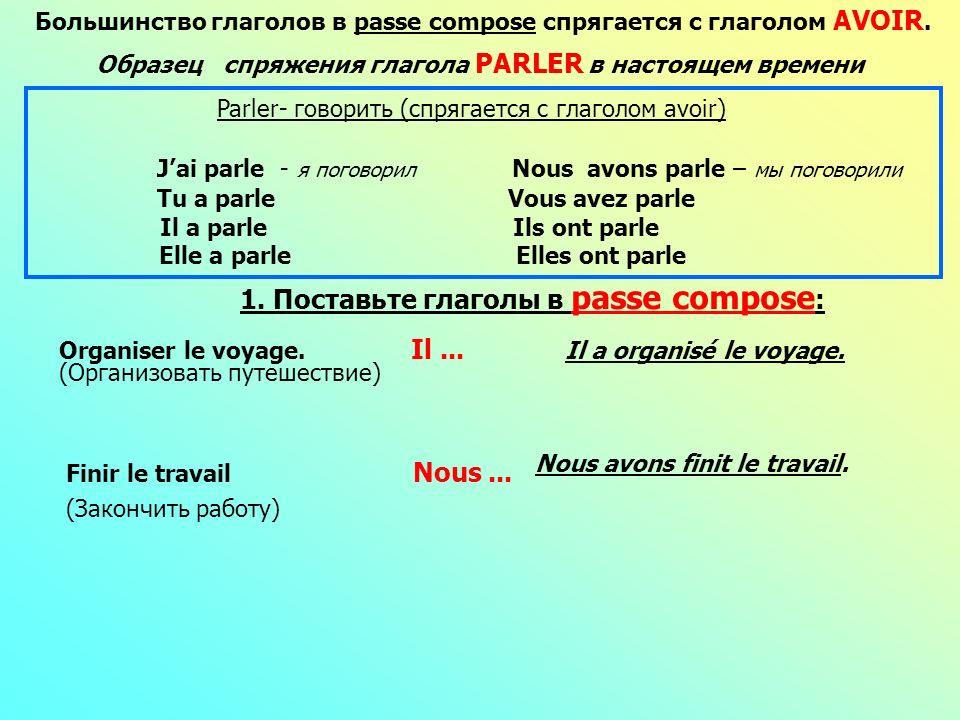Большинство глаголов в раsse compose спрягается с глаголом AVOIR. Образец спряжения глагола PARLER в настоящем времени Tu a parle Vous avez parle Il a
