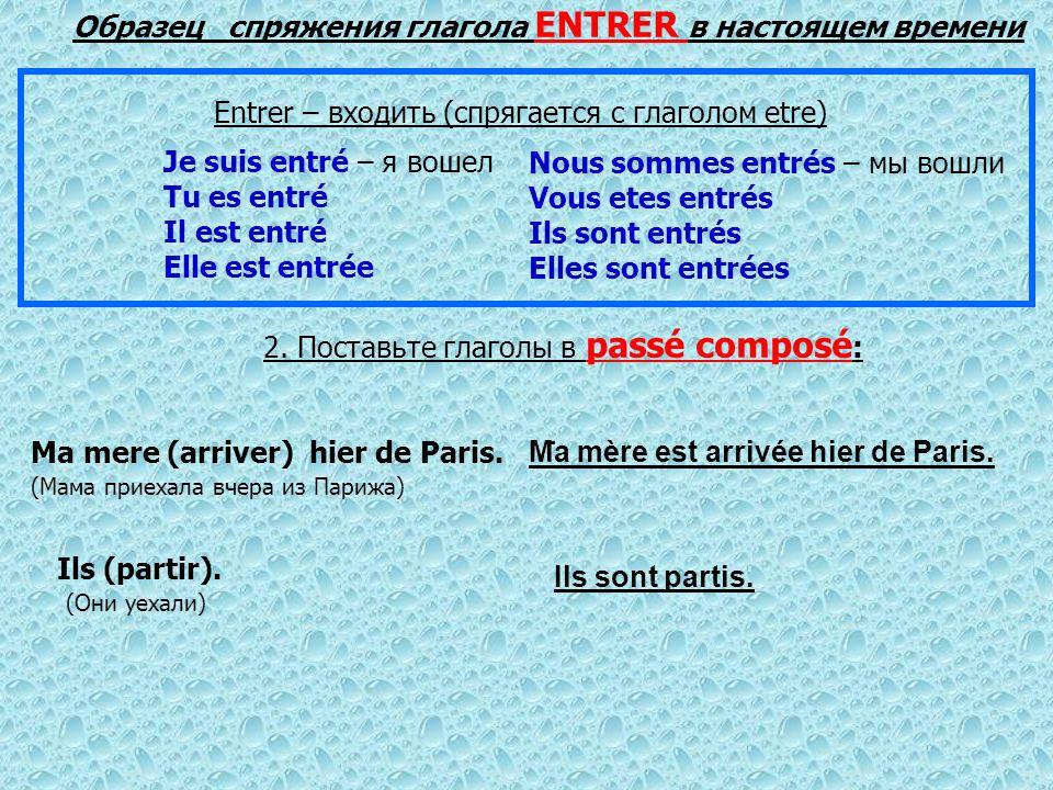 2. Поставьте глаголы в раssé composé : Ma mere (arriver) hier de Paris. (Мама приехала вчера из Парижа) Ils (partir). (Они уехали) Образец спряжения г