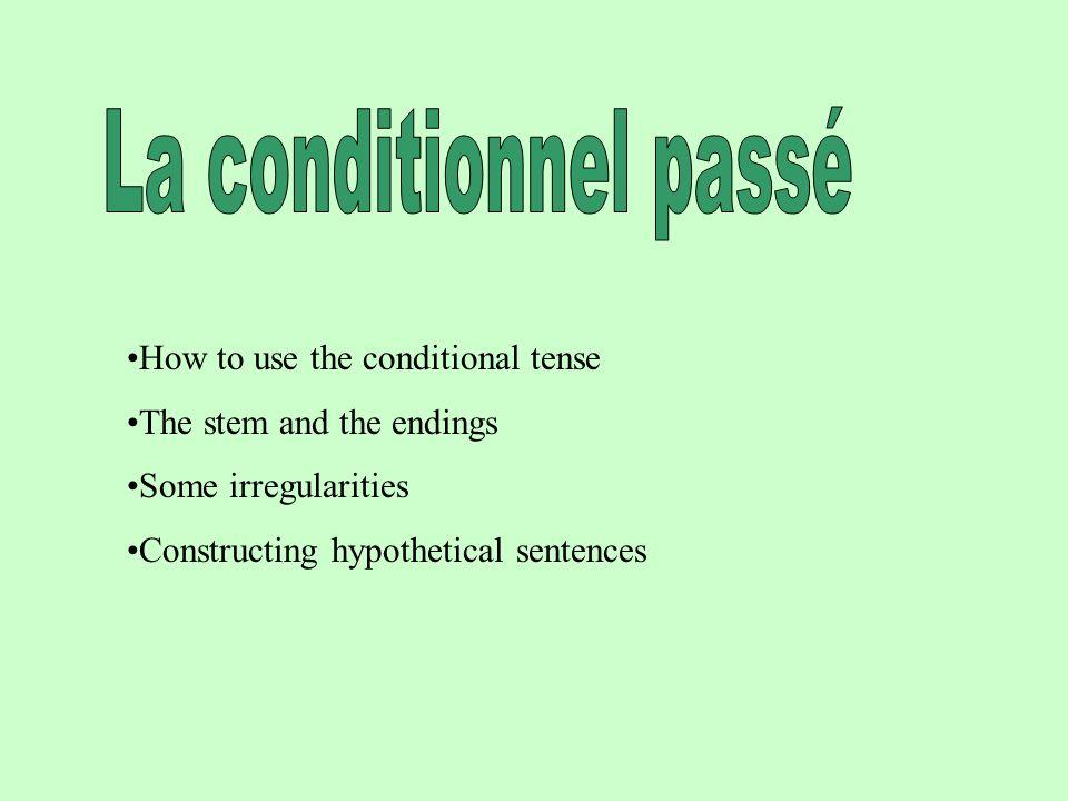 FORMATION Le conditionnel passé semploie Après si+plus-que-parfait quand on fait des hypothèse dans le passé.