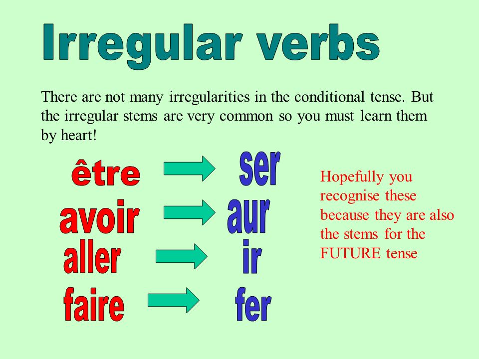 There are not many irregularities in the conditional tense.