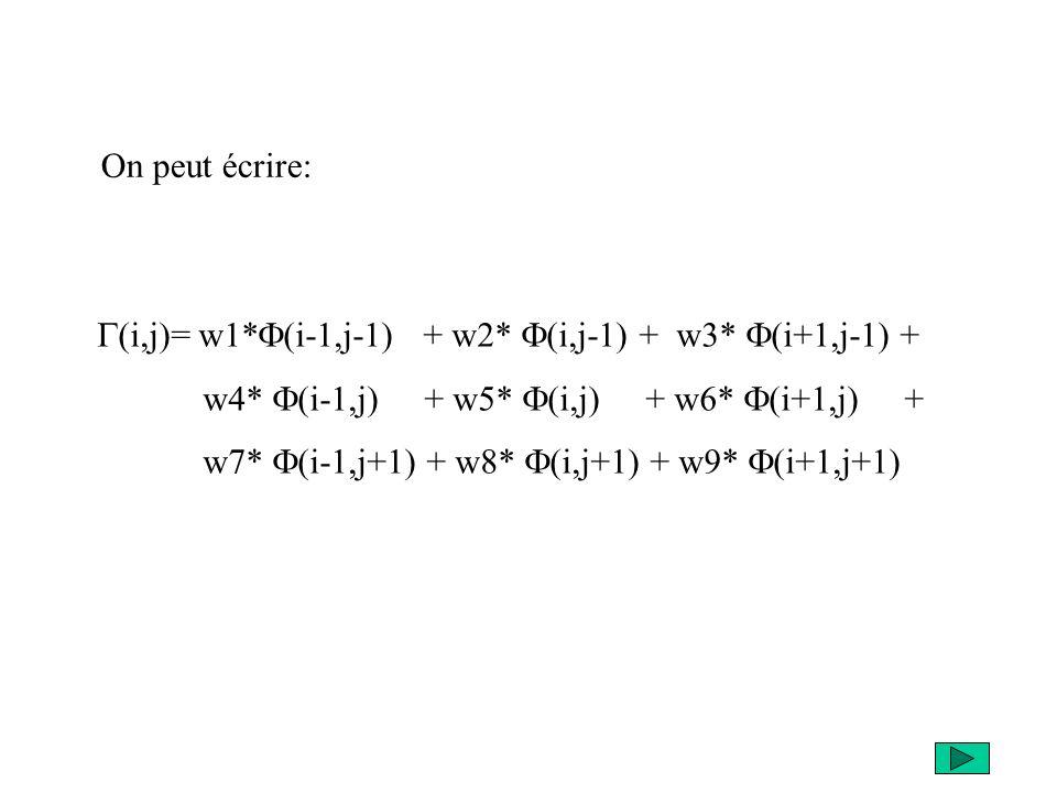 (i,j)= w1* (i-1,j-1) + w2* (i,j-1) + w3* (i+1,j-1) + w4* (i-1,j) + w5* (i,j) + w6* (i+1,j) + w7* (i-1,j+1) + w8* (i,j+1) + w9* (i+1,j+1) On peut écrir