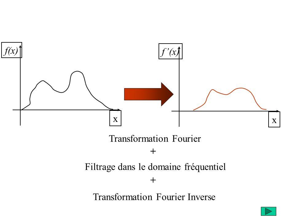 x x Transformation Fourier Filtrage dans le domaine fréquentiel Transformation Fourier Inverse + +