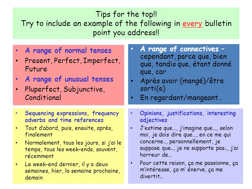 Tips for the top!! Try to include an example of the following in every bulletin point you address!! A range of normal tenses Present, Perfect, Imperfe