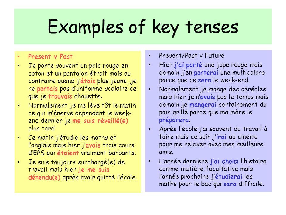 Examples of key tenses Present v Past Je porte souvent un polo rouge en coton et un pantalon étroit mais au contraire quand jétais plus jeune, je ne p
