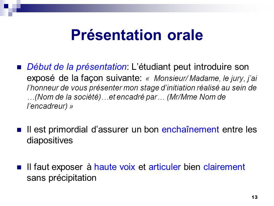 13 Présentation orale Début de la présentation: Létudiant peut introduire son exposé de la façon suivante: « Monsieur/ Madame, le jury, jai lhonneur d