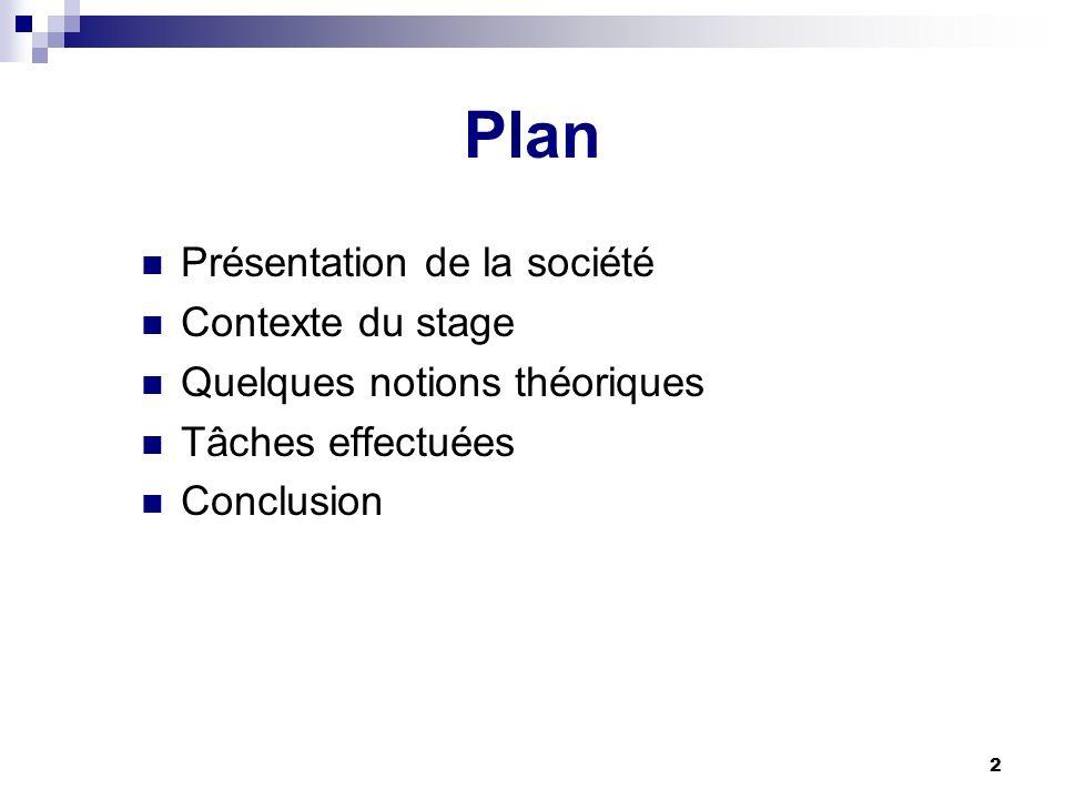 2 Plan Présentation de la société Contexte du stage Quelques notions théoriques Tâches effectuées Conclusion