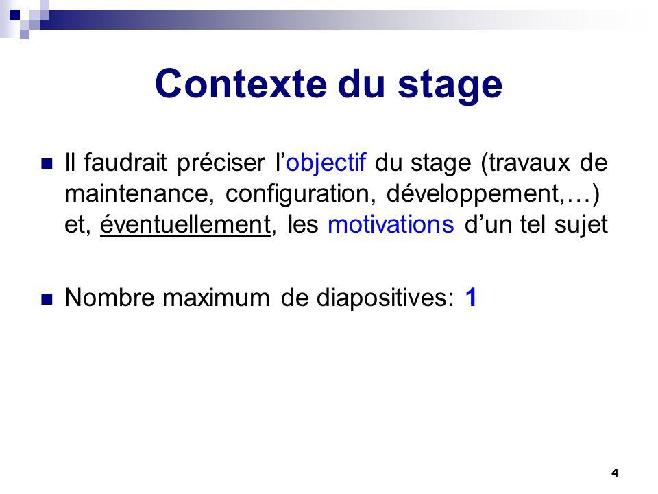 4 Contexte du stage Il faudrait préciser lobjectif du stage (travaux de maintenance, configuration, développement,…) et, éventuellement, les motivatio