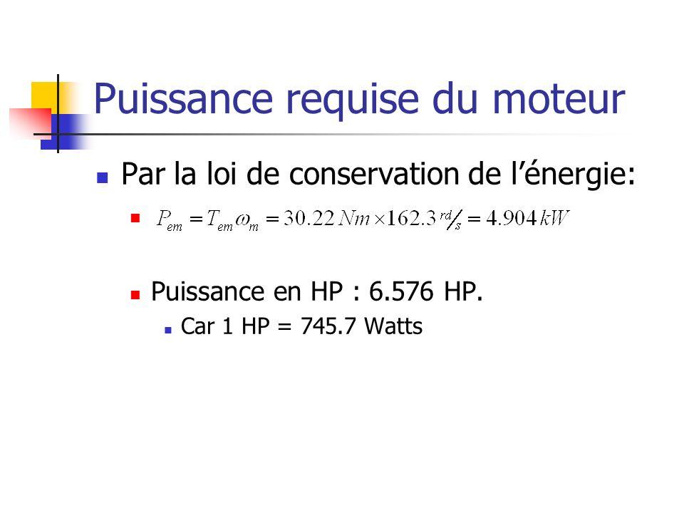 Puissance requise du moteur Par la loi de conservation de lénergie: Puissance en HP : 6.576 HP. Car 1 HP = 745.7 Watts