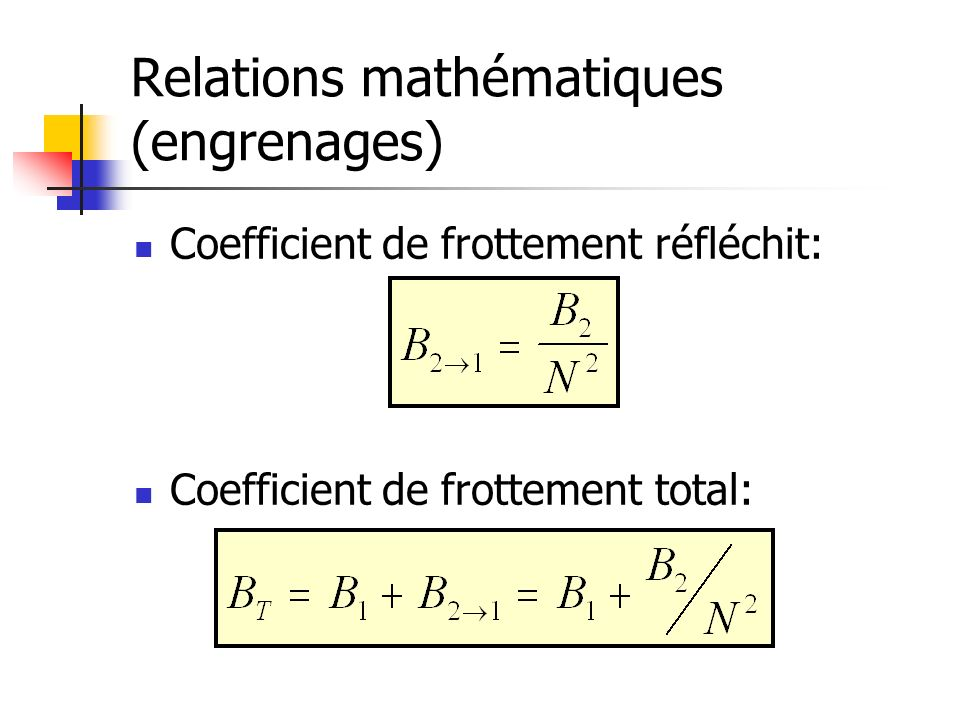Relations mathématiques (engrenages) Coefficient de frottement réfléchit: Coefficient de frottement total: