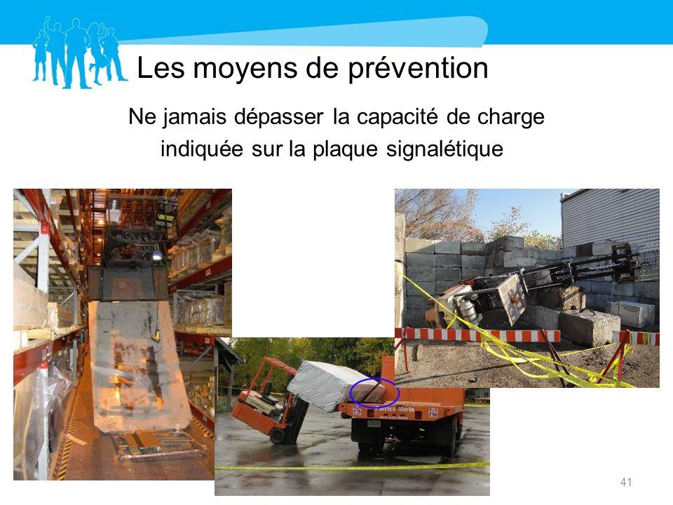 Les moyens de prévention Ne jamais dépasser la capacité de charge indiquée sur la plaque signalétique 41