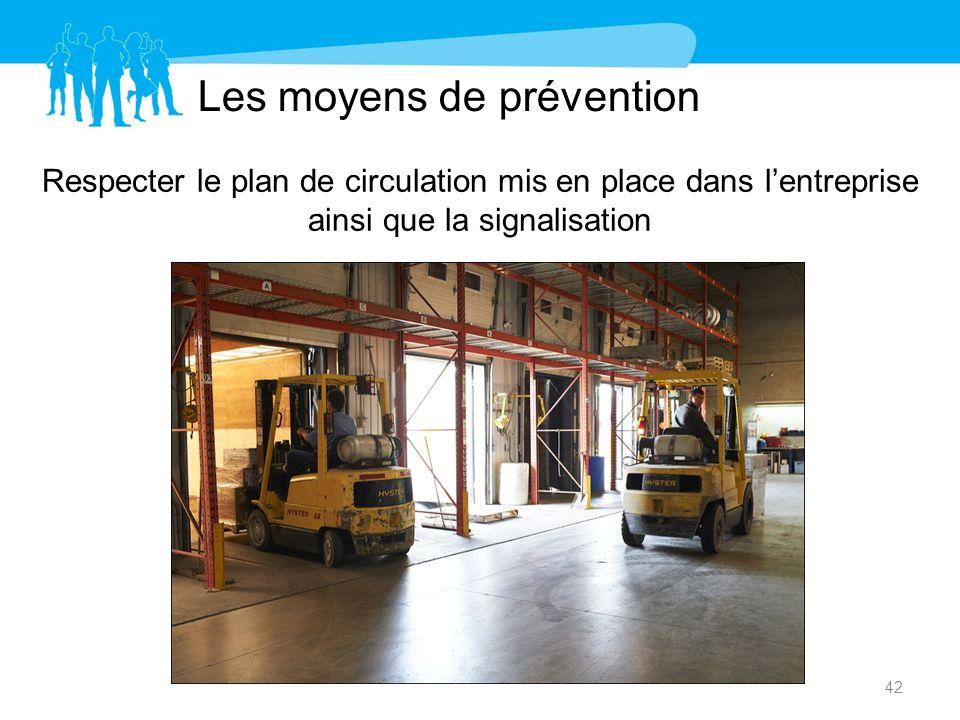 Les moyens de prévention Respecter le plan de circulation mis en place dans lentreprise ainsi que la signalisation 42