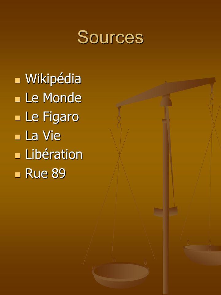 Sources Wikipédia Wikipédia Le Monde Le Monde Le Figaro Le Figaro La Vie La Vie Libération Libération Rue 89 Rue 89