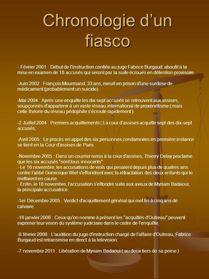 Chronologie dun fiasco - Février 2001 : Début de l'instruction confiée au juge Fabrice Burgaud. aboutit à la mise en examen de 18 accusés qui seront p
