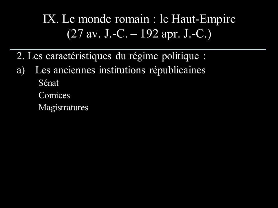 IX. Le monde romain : le Haut-Empire (27 av. J.-C. – 192 apr. J.-C.) 2. Les caractéristiques du régime politique : a)Les anciennes institutions républ