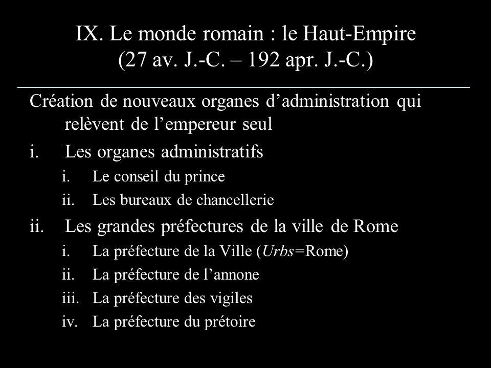 IX. Le monde romain : le Haut-Empire (27 av. J.-C. – 192 apr. J.-C.) Création de nouveaux organes dadministration qui relèvent de lempereur seul i.Les