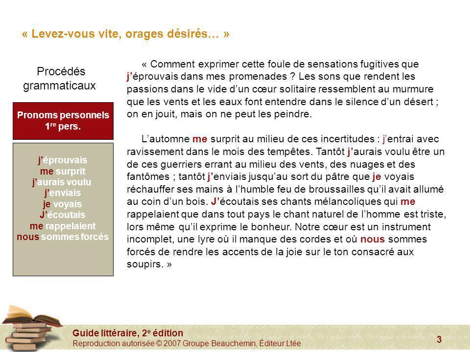 Guide littéraire, 2 e édition Reproduction autorisée © 2007 Groupe Beauchemin, Éditeur Ltée 3 « Levez-vous vite, orages désirés… » « Comment exprimer