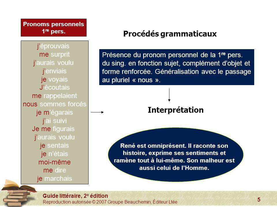Guide littéraire, 2 e édition Reproduction autorisée © 2007 Groupe Beauchemin, Éditeur Ltée 5 Pronoms personnels 1 re pers. Procédés grammaticaux Inte