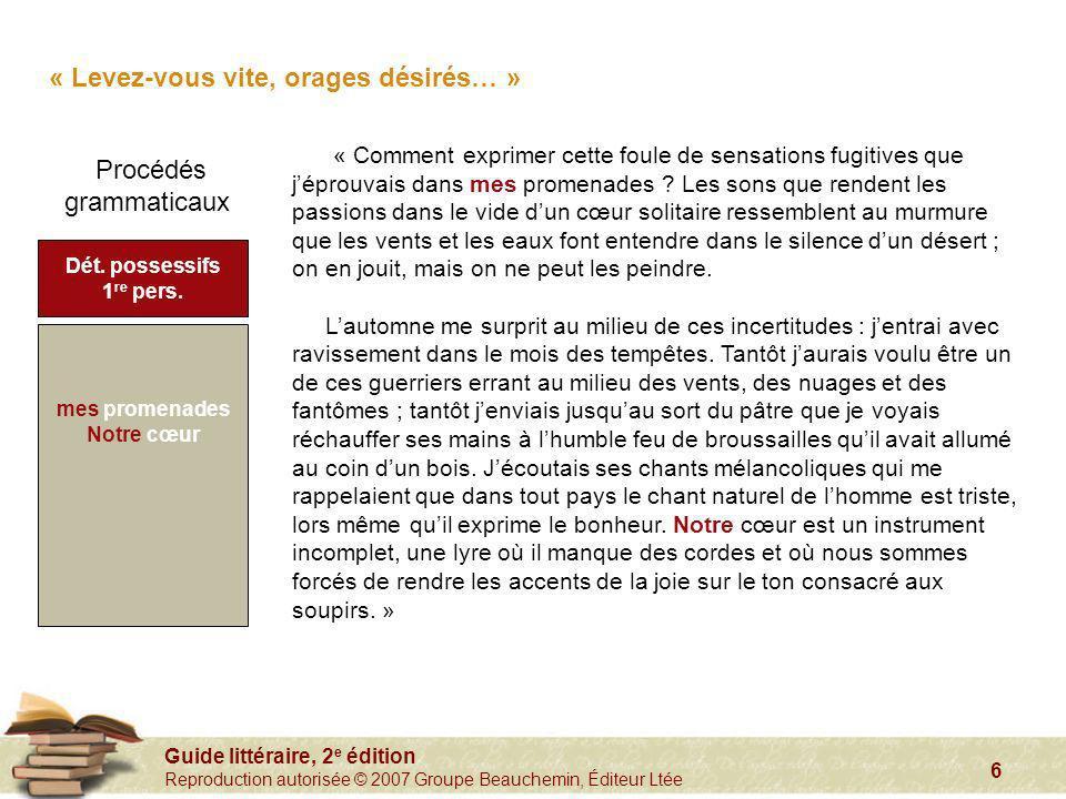 Guide littéraire, 2 e édition Reproduction autorisée © 2007 Groupe Beauchemin, Éditeur Ltée 6 « Comment exprimer cette foule de sensations fugitives q