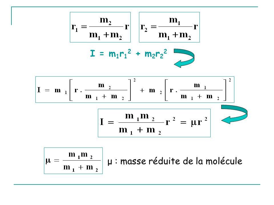 I = m 1 r 1 2 + m 2 r 2 2 μ : masse réduite de la molécule