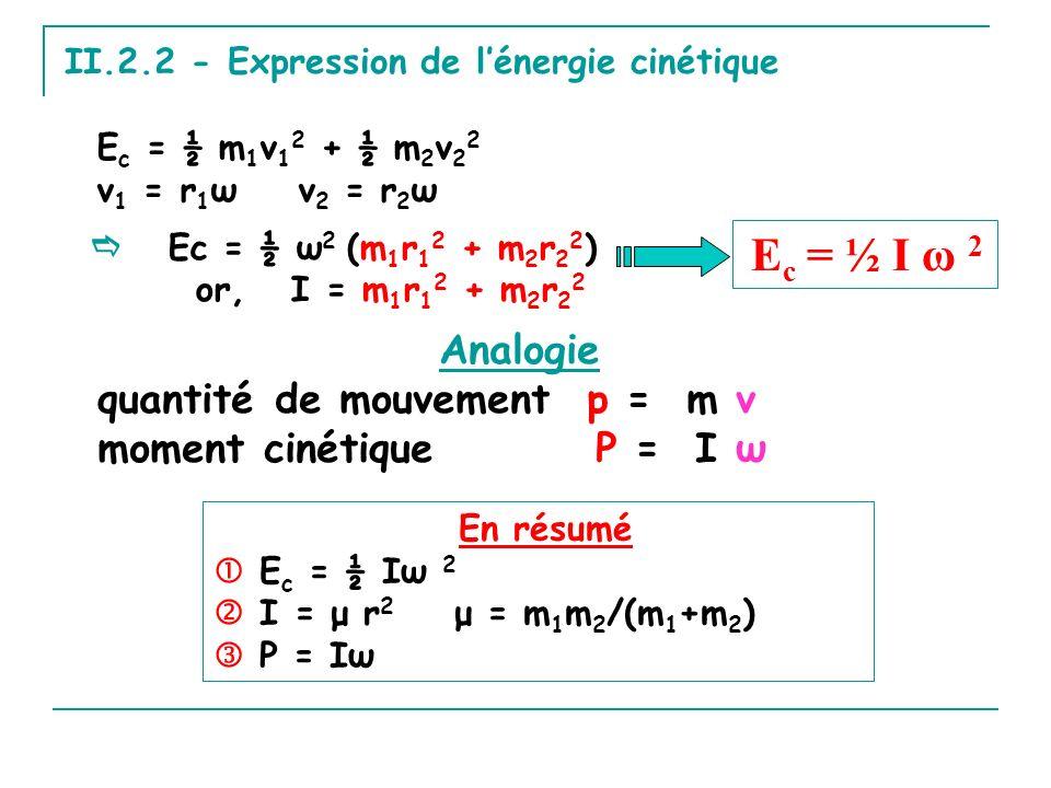 II.2.2 - Expression de lénergie cinétique E c = ½ m 1 v 1 2 + ½ m 2 v 2 2 v 1 = r 1 ω v 2 = r 2 ω Analogie quantité de mouvement p = m v moment cinétique P = I ω En résumé E c = ½ Iω 2 I = μ r 2 μ = m 1 m 2 /(m 1 +m 2 ) P = Iω E c = ½ I ω 2 Ec = ½ ω 2 (m 1 r 1 2 + m 2 r 2 2 ) or, I = m 1 r 1 2 + m 2 r 2 2