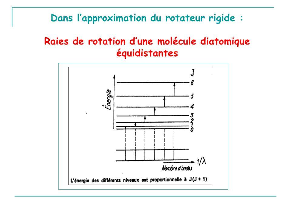Dans lapproximation du rotateur rigide : Raies de rotation dune molécule diatomique équidistantes