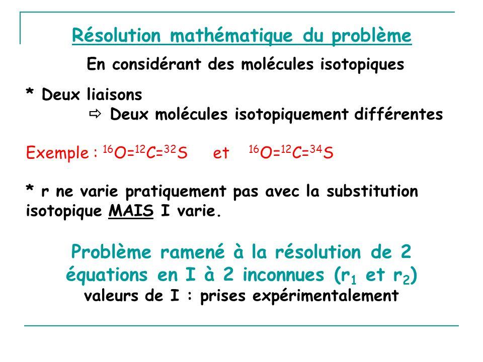 Résolution mathématique du problème * Deux liaisons Deux molécules isotopiquement différentes Exemple : 16 O= 12 C= 32 S et 16 O= 12 C= 34 S * r ne va