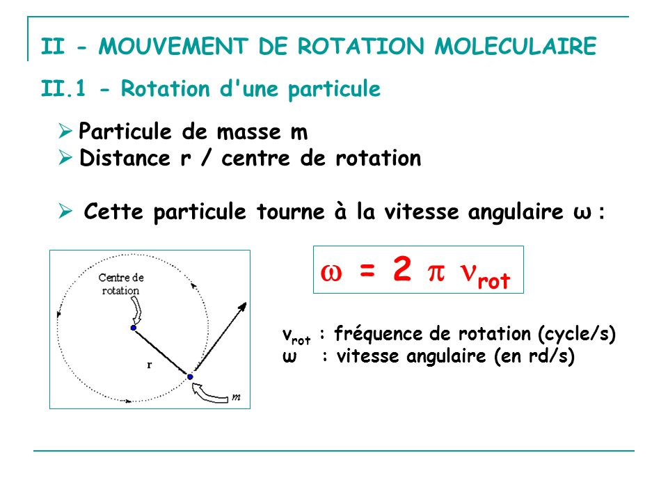 En fonction de m et v (vitesse): En fonction de r et ω : E c = ½ m(rω) 2 = ½ (mr 2 )ω 2 I = mr 2 ; I étant le moment d inertie E c = ½ Iω 2 E c = ½ mv 2 Energie cinétique Comme v = r ω