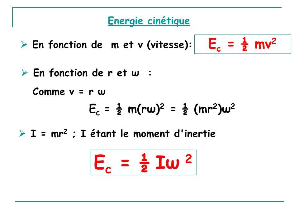 En fonction de m et v (vitesse): En fonction de r et ω : E c = ½ m(rω) 2 = ½ (mr 2 )ω 2 I = mr 2 ; I étant le moment d'inertie E c = ½ Iω 2 E c = ½ mv