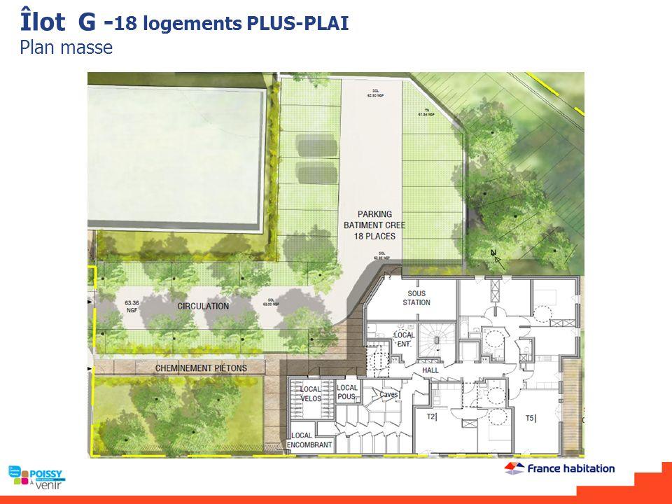 Îlot G - 18 logements PLUS-PLAI Plan masse