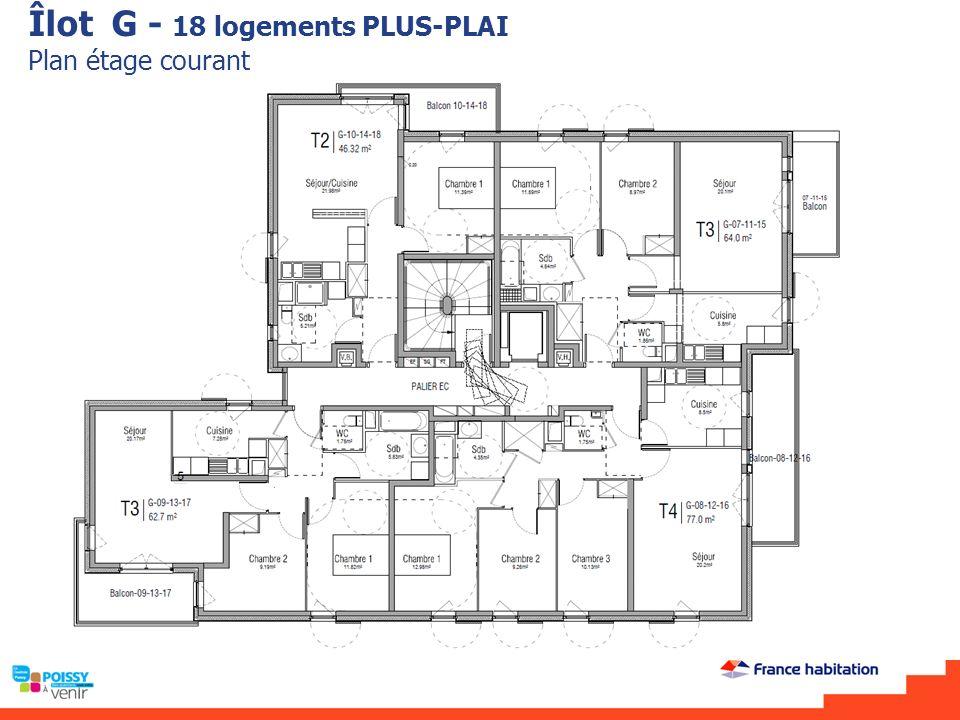 Îlot G - 18 logements PLUS-PLAI Plan étage courant