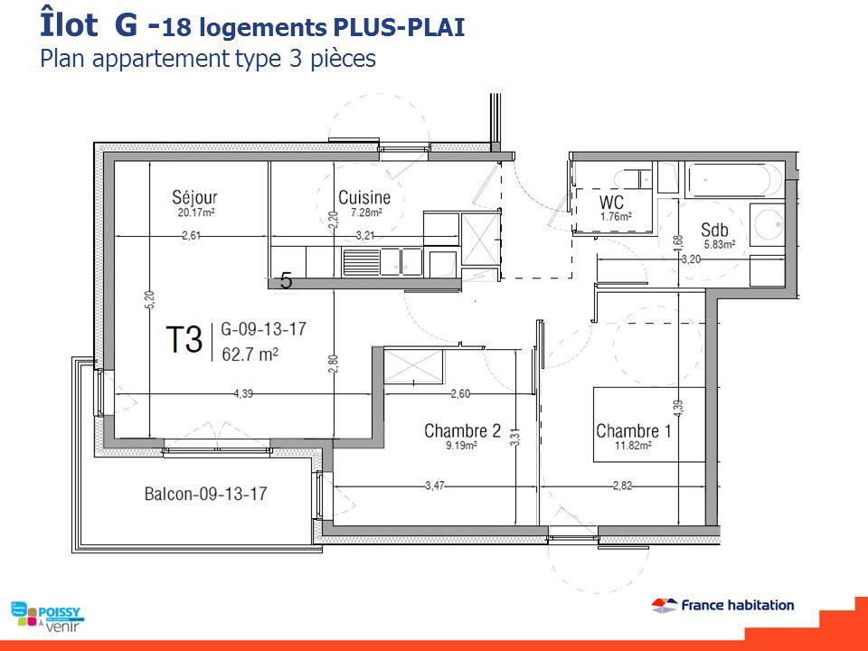 Îlot G - 18 logements PLUS-PLAI Plan appartement type 3 pièces