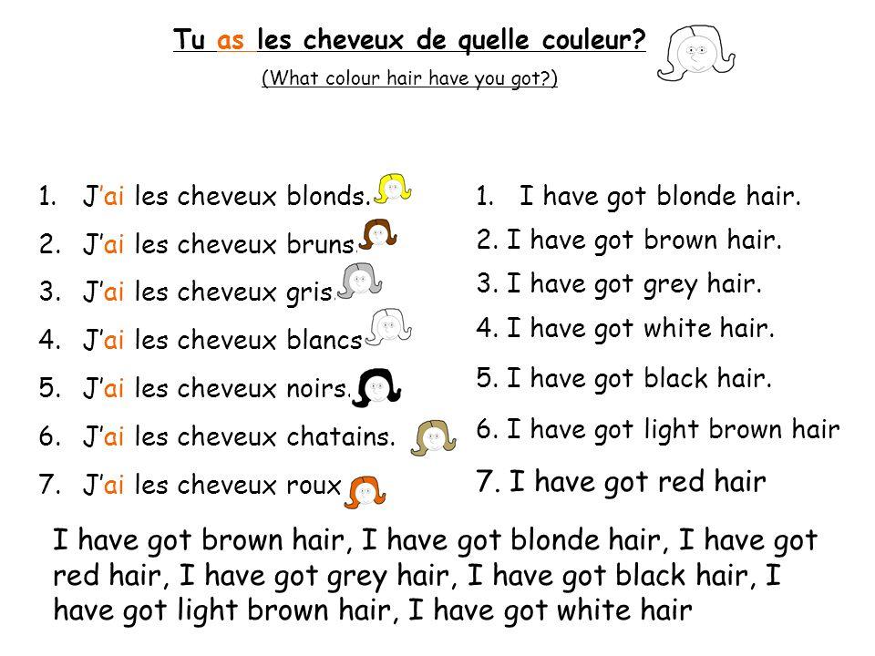 a) Jai les cheveux roux et les yeux verts b) Jai les cheveux bruns et les yeux marron c) Jai les cheveux gris et les yeux noisettes 1.
