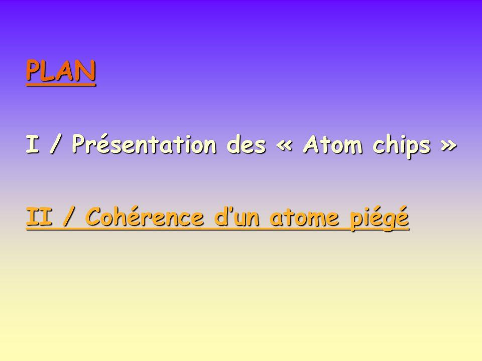 PLAN I / Présentation des « Atom chips » II / Cohérence dun atome piégé