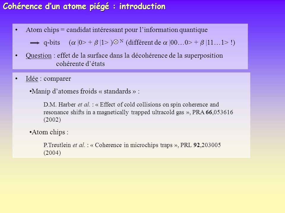 Atom chips = candidat intéressant pour linformation quantique q-bits (  0> +  1> ) N (différent de  00…0> +  11…1> !) Question : effet de la surface d