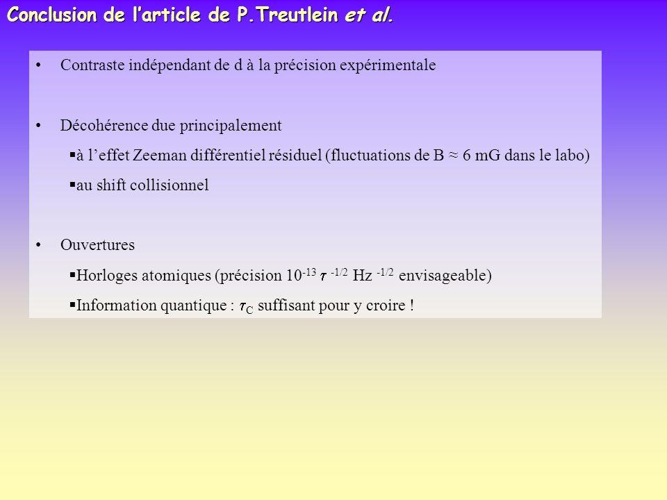 Conclusion de larticle de P.Treutlein et al. Contraste indépendant de d à la précision expérimentale Décohérence due principalement à leffet Zeeman di