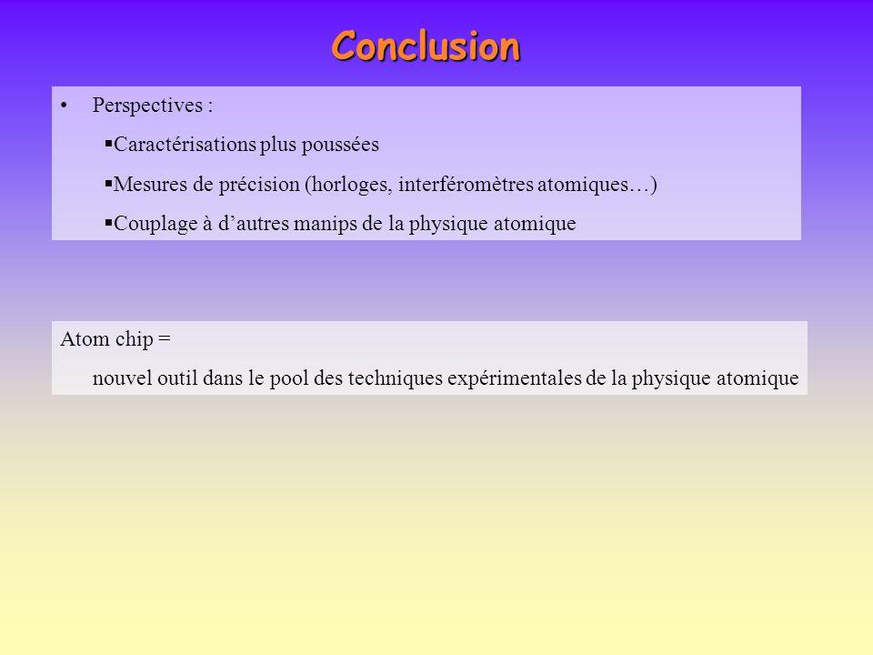 Conclusion Perspectives : Caractérisations plus poussées Mesures de précision (horloges, interféromètres atomiques…) Couplage à dautres manips de la p