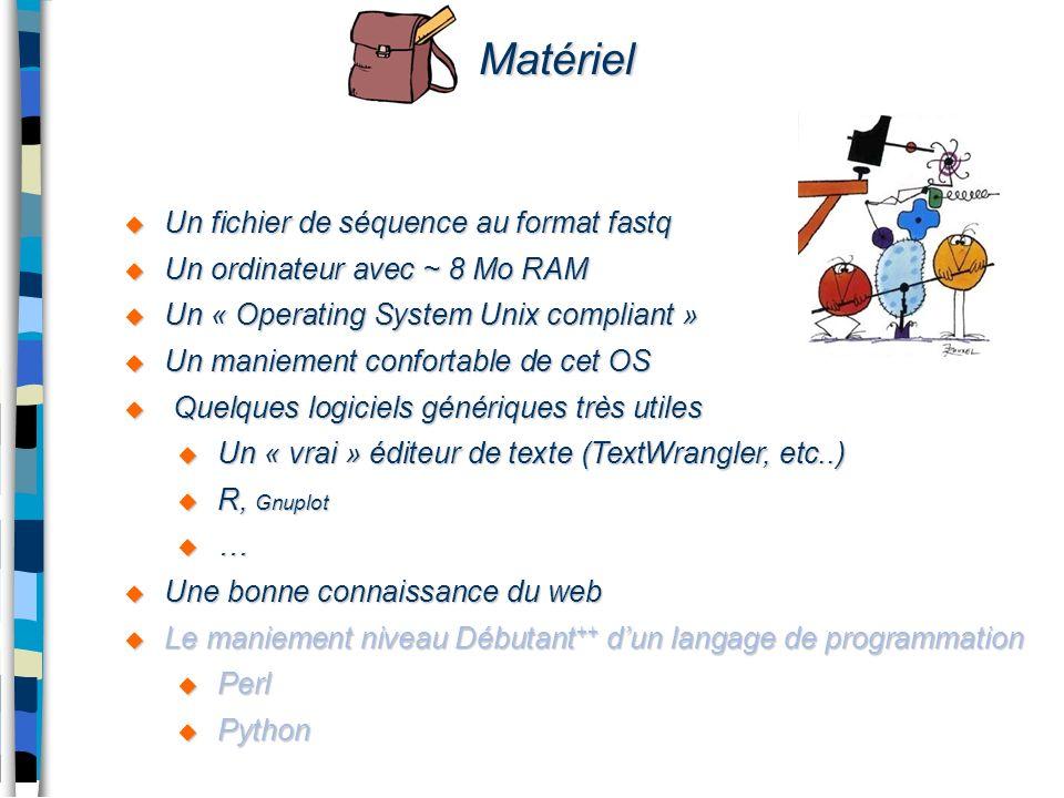 Matériel Un fichier de séquence au format fastq Un fichier de séquence au format fastq Un ordinateur avec ~ 8 Mo RAM Un ordinateur avec ~ 8 Mo RAM Un