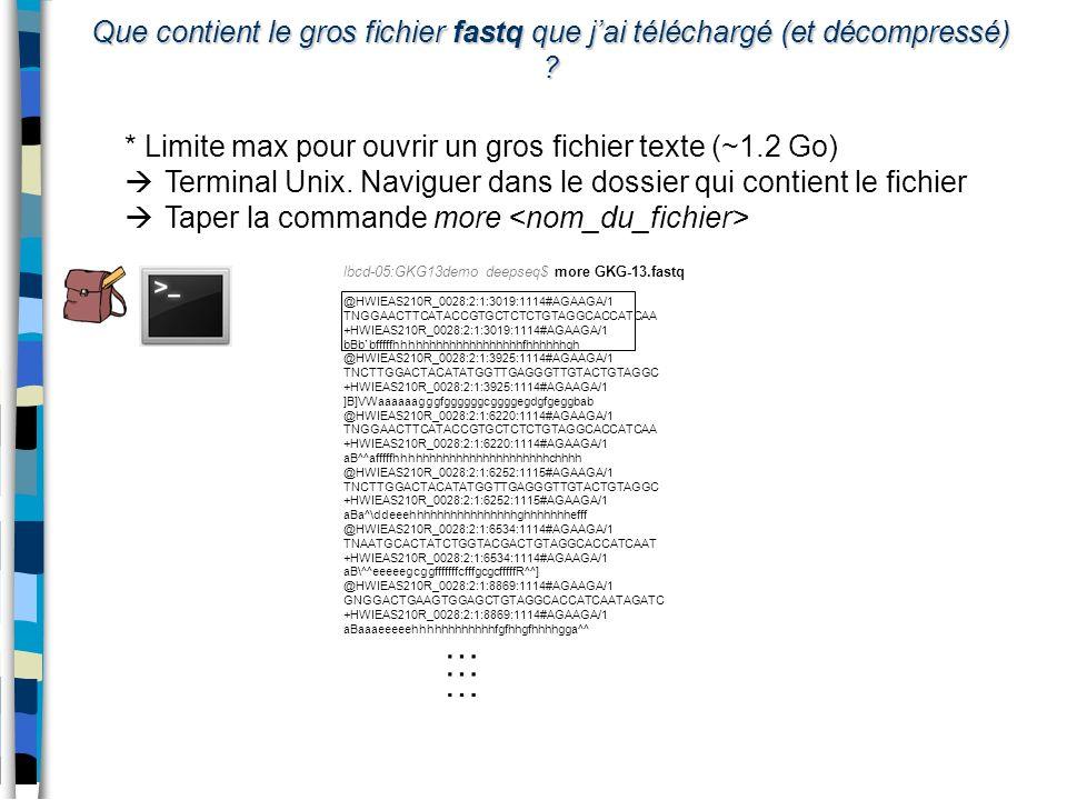 Que contient le gros fichier fastq que jai téléchargé (et décompressé) ? * Limite max pour ouvrir un gros fichier texte (~1.2 Go) Terminal Unix. Navig