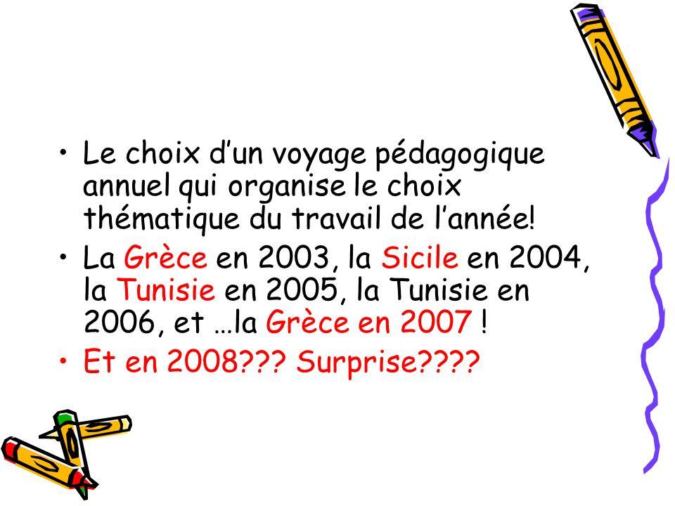 Le choix dun voyage pédagogique annuel qui organise le choix thématique du travail de lannée! La Grèce en 2003, la Sicile en 2004, la Tunisie en 2005,