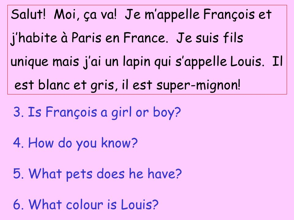 Salut! Moi, ça va! Je mappelle François et jhabite à Paris en France. Je suis fils unique mais jai un lapin qui sappelle Louis. Il est blanc et gris,