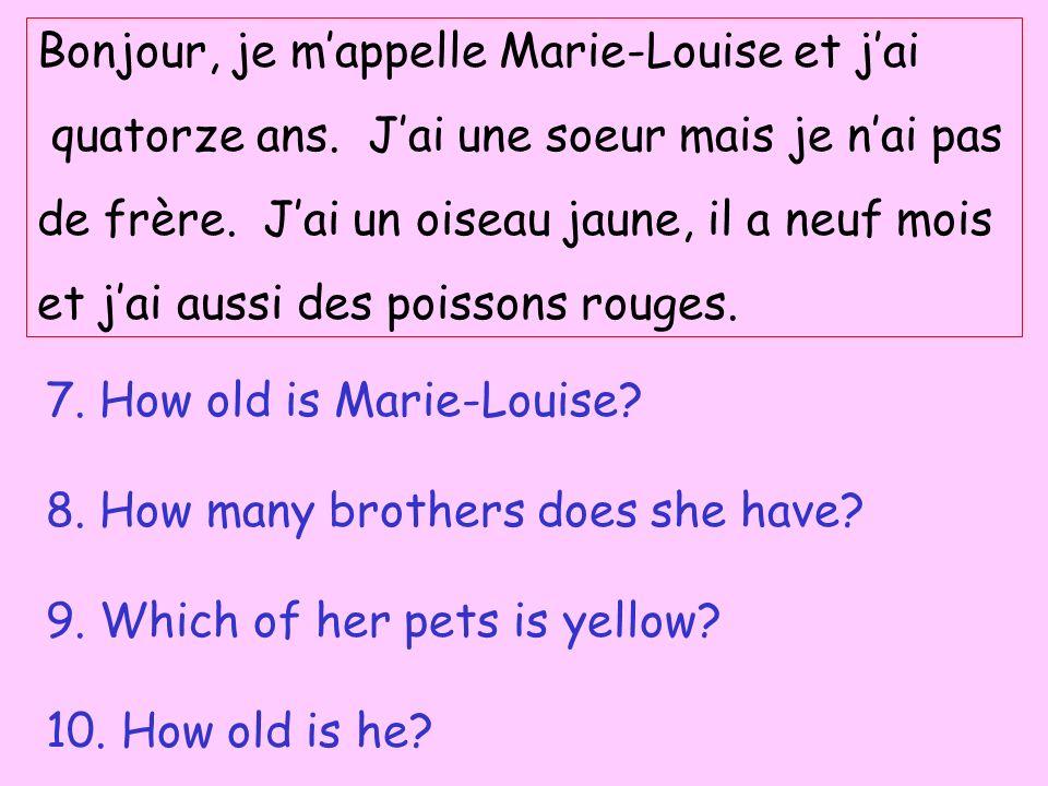 Bonjour, je mappelle Marie-Louise et jai quatorze ans. Jai une soeur mais je nai pas de frère. Jai un oiseau jaune, il a neuf mois et jai aussi des po
