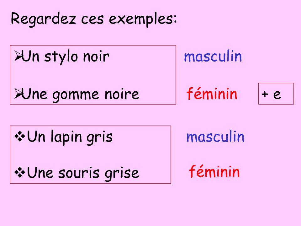 Regardez ces exemples: Un stylo noir Une gomme noire Un lapin gris Une souris grise masculin féminin masculin féminin + e