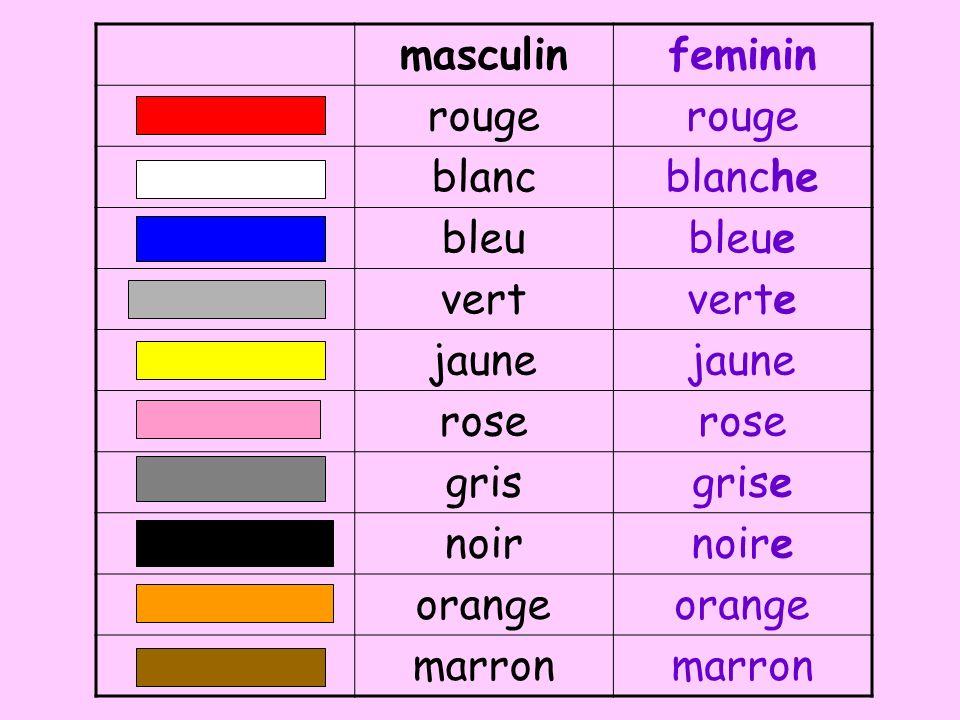 masculinfeminin rouge blancblanche bleubleue vertverte jaune rose grisgrise noirnoire orange marron