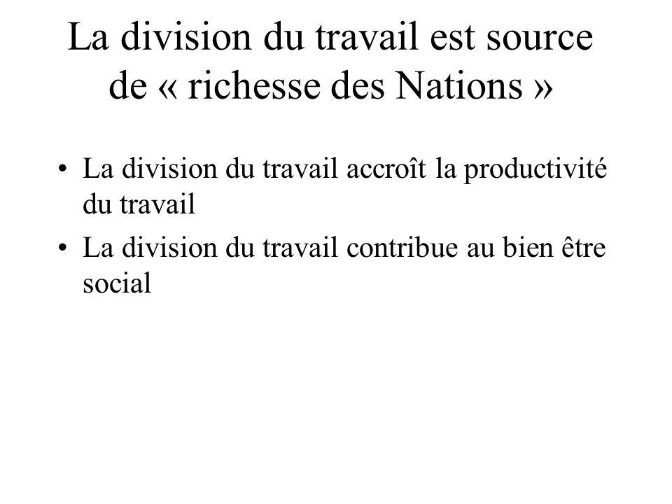 La division du travail est source de « richesse des Nations » La division du travail accroît la productivité du travail La division du travail contrib
