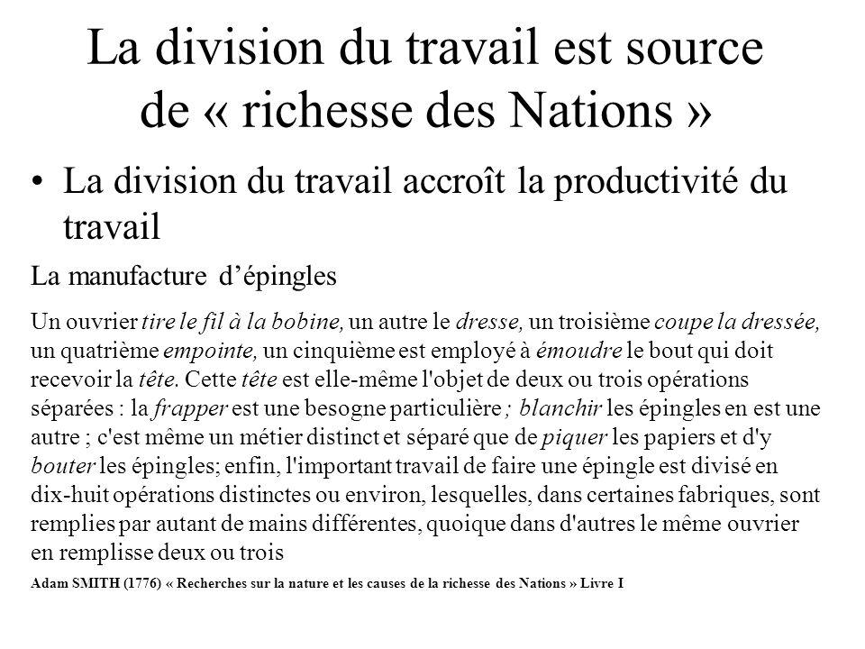 La division du travail est source de « richesse des Nations » La division du travail accroît la productivité du travail La manufacture dépingles Un ou