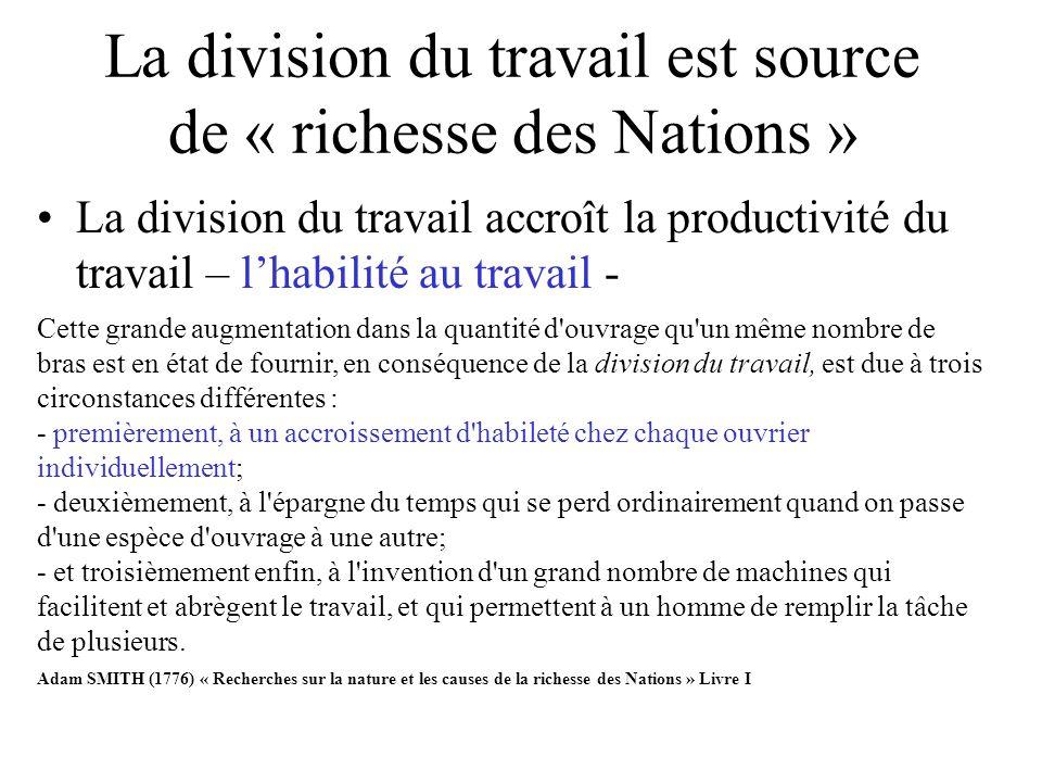 La division du travail est source de « richesse des Nations » La division du travail accroît la productivité du travail – lhabilité au travail - Cette