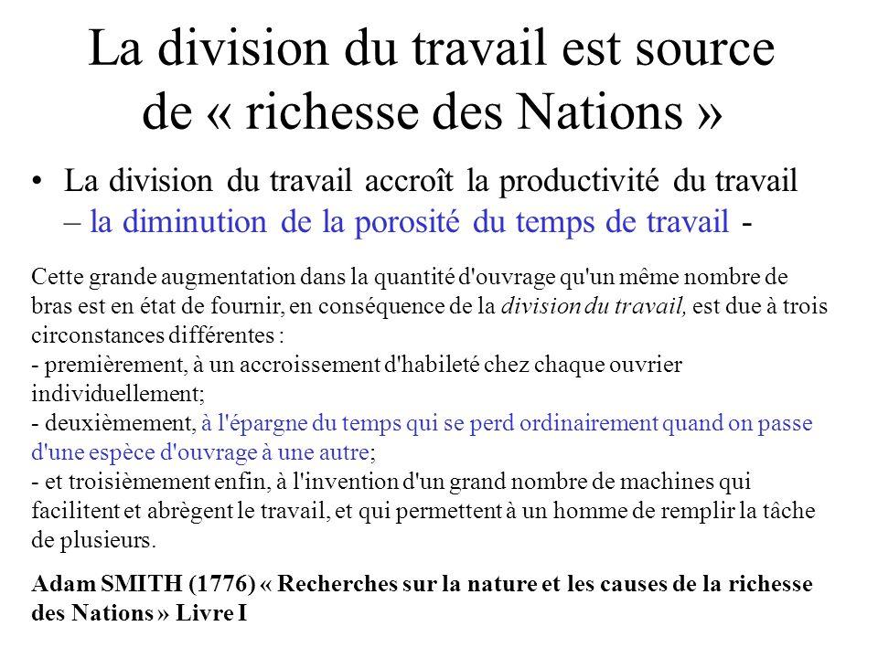 La division du travail est source de « richesse des Nations » La division du travail accroît la productivité du travail – la diminution de la porosité
