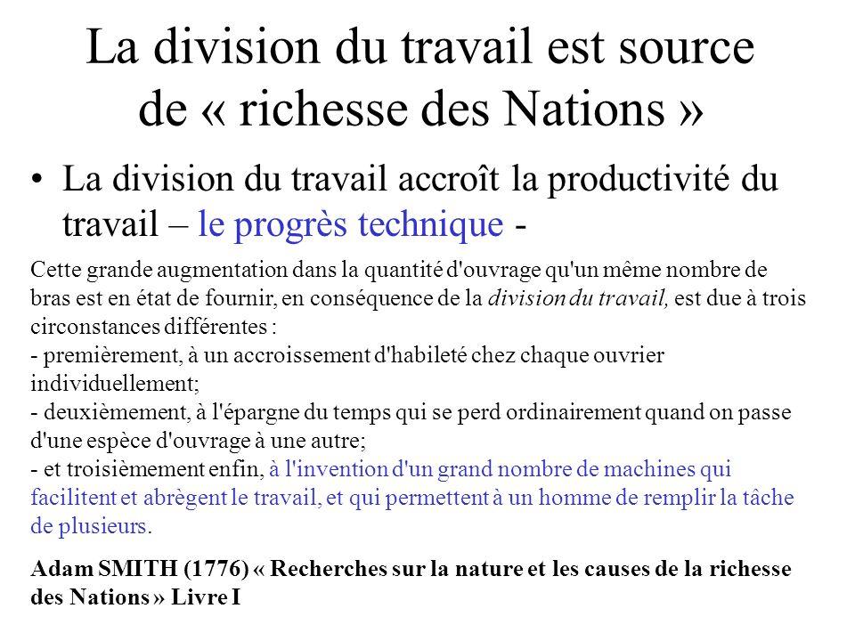 La division du travail est source de « richesse des Nations » La division du travail accroît la productivité du travail – le progrès technique - Cette