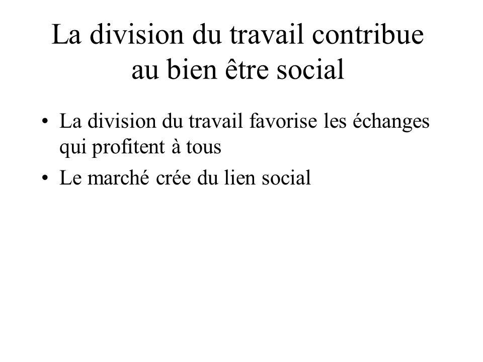 La division du travail contribue au bien être social La division du travail favorise les échanges qui profitent à tous Le marché crée du lien social